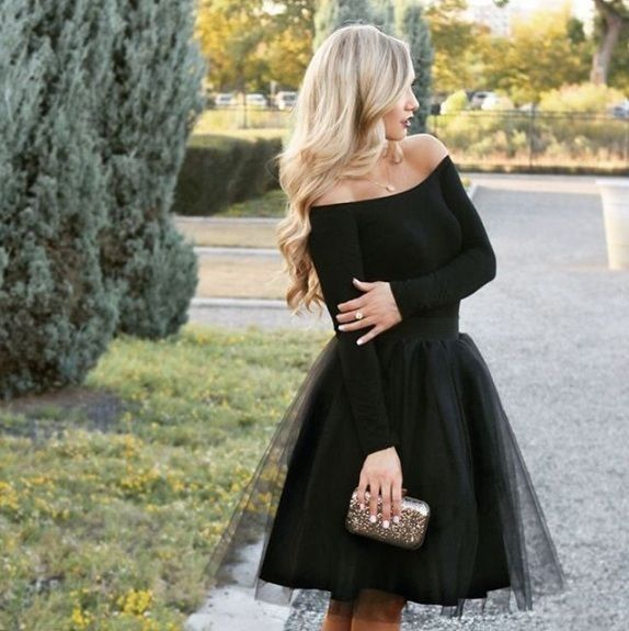 New black luxurious 6 layers tulle women skirt tutu midi knee .