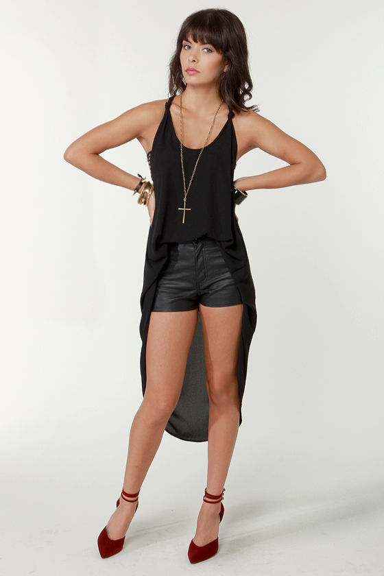 Cute Black Tunic - High-Low Top - $35.