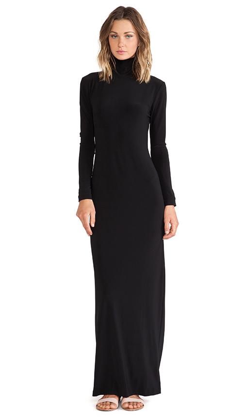 Norma Kamali KAMALIKULTURE Turtleneck Maxi Dress in Solid Black .