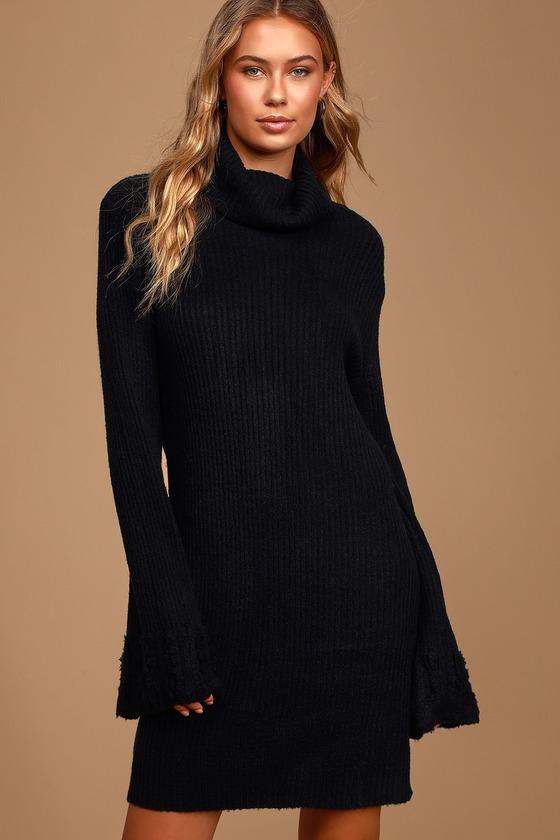 Cozy Black Turtleneck Dress - Rib Knit Sweater Dress - Sweat