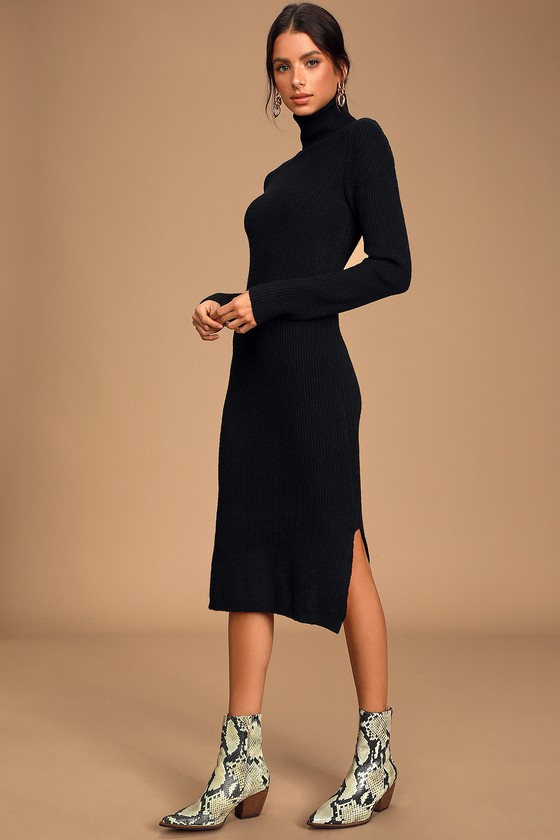 Cozy Black Dress - Sweater Dress - Turtleneck Dress - Dre