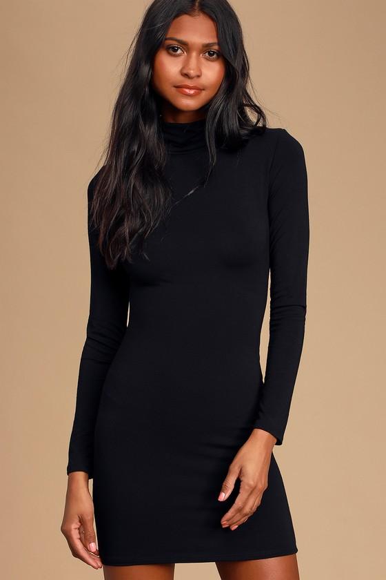 Black Dress - Turtleneck Dress - Black Bodycon Dre
