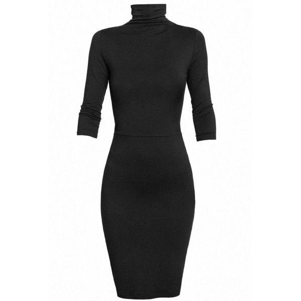 Undress - Black Turtleneck Jersey Dress found on Polyvore .