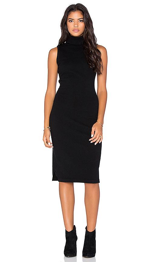 Autumn Cashmere Sleeveless Turtleneck Dress in Black | REVOL