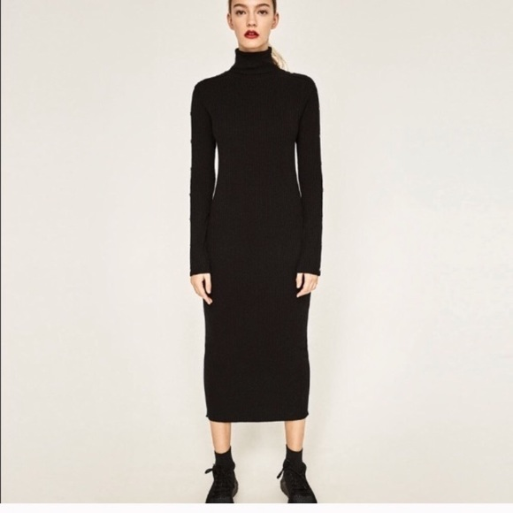 Zara Dresses | Long Black Turtleneck Dress | Poshma