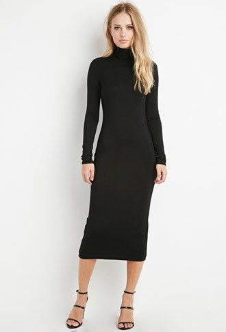 A midi-length turtleneck dress with long sleeves. Must be part of .