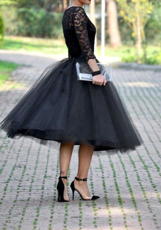Black Grenadine Pleated High Waisted Tulle Tutu Homecoming Party .