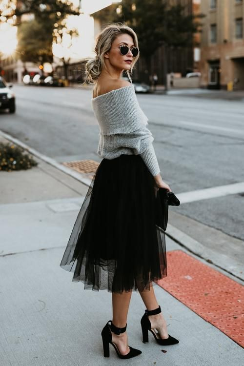 Black Tulle Skirt Outfit | Tulle Skirt Black #fashion #black .