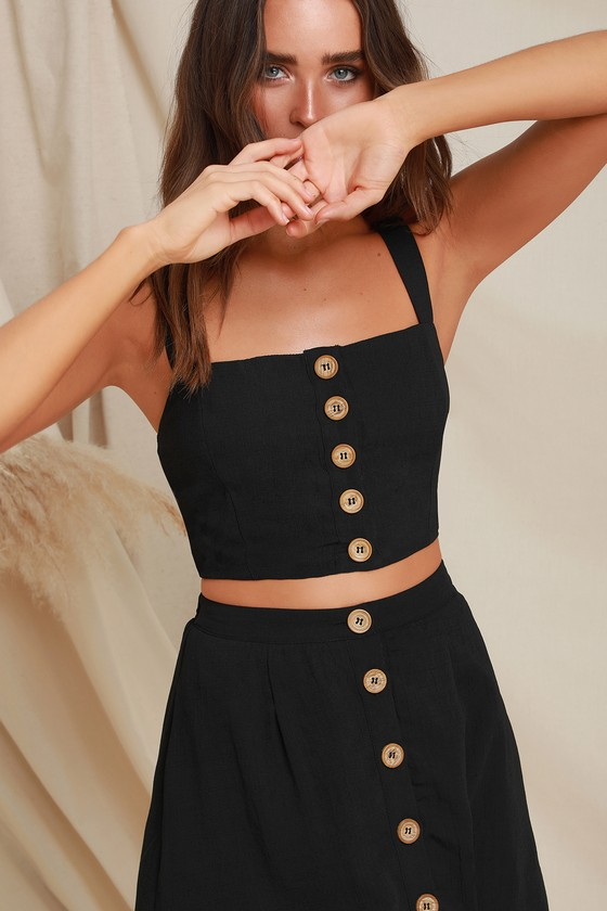 Cute Black Two-Piece Dress - Two-Piece Midi Dre