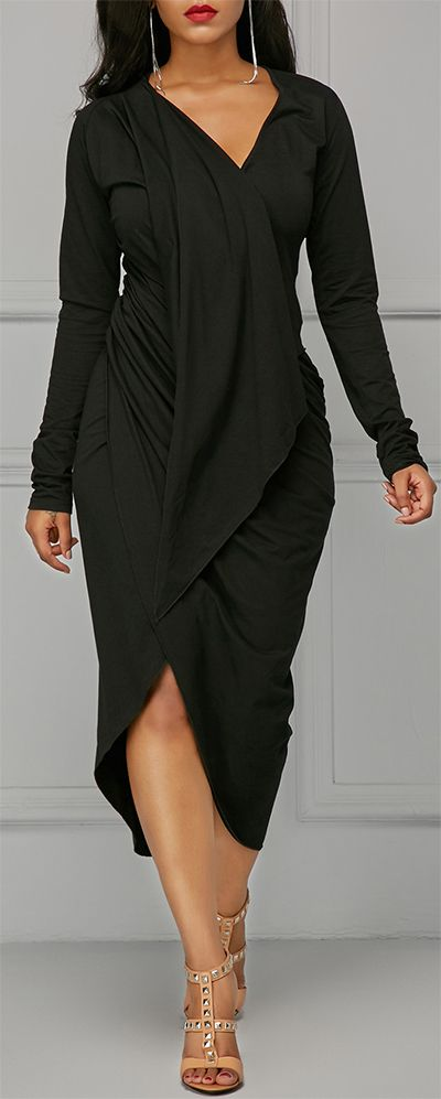 Black Asymmetric Hem V Neck Draped Dress. | Fashion, Clothes .