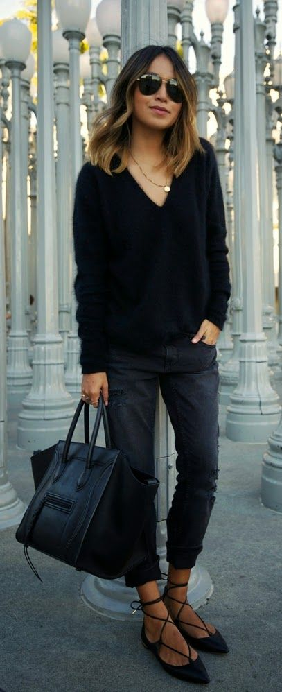 Perfect Black Style | Black V-Neck Sweater with Boyfriend Ripped .