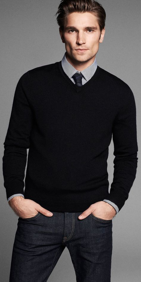 Men's Black V-neck Sweater, White and Black Check Dress Shirt .