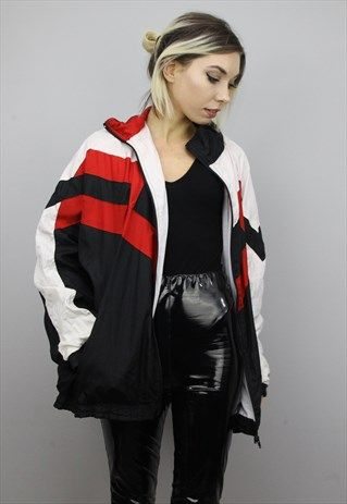 Vintage+80s/90s+Oversized+Colourful+Shell+Windbreaker+Jacket .