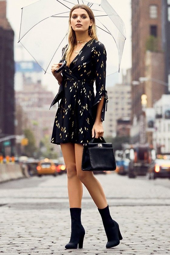 Radiant Love Black and Gold Print Wrap Dress - Clothing Styles .