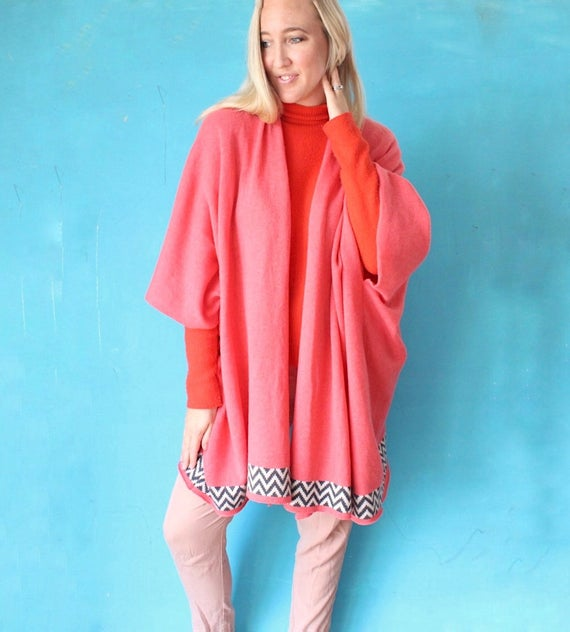Oversized pink knitted blanket cardigan knitted cardigan | Et