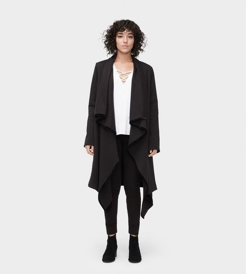 UGG Women's Janni Fleece Blanket Cardigan In Black, Size XL .