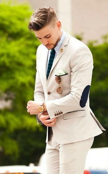 Latest Coat Pant Designs Beige Groom Tuxedos elbow patches 2 .
