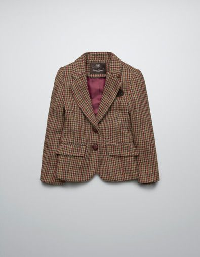 CHECKED BLAZER WITH ELBOW PATCHES - Coats - Girl (2-14 years .