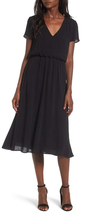 WAYF Blouson Midi Dress, women's fashion, women's style, black .