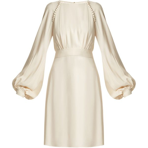 Chloé Waist-tie blouson-sleeve cady dress ($1,650) ❤ liked on .