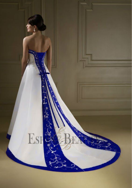 Vintage A-line royal blue and white wedding dresses (Marine .