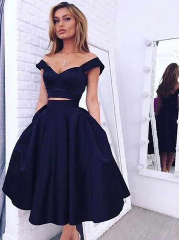 Gorgeous Two-piece Off-the-shoulder A-line Dark Navy Homecoming .