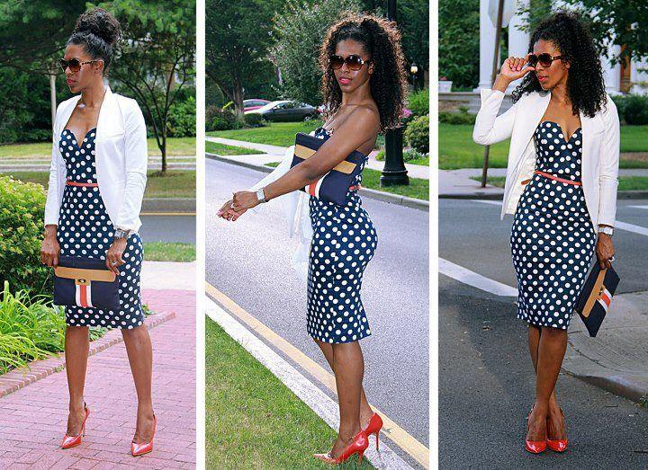 Polka dots; navy blue; white; blazer; summer outfit | Polka dot .