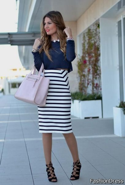 blue and white striped dress outfit ideas 2017-2018 | NewClotheSh