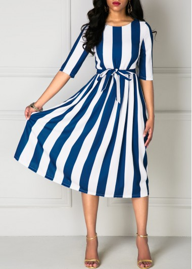 Navy Blue and White Striped Half Sleeve Tie Waist Midi Dress .