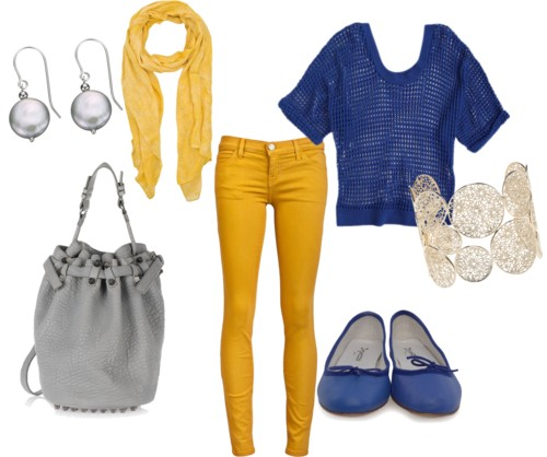 Yellow and Blue Cute Outfit with Jeans for Back to Scho