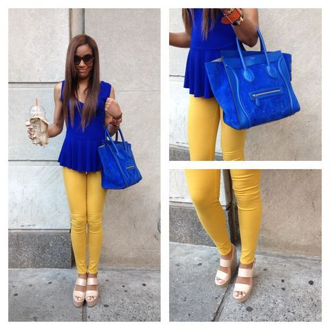 Mustard Pants + Royal Blue Top | Royal blue outfits, Yellow jeans .