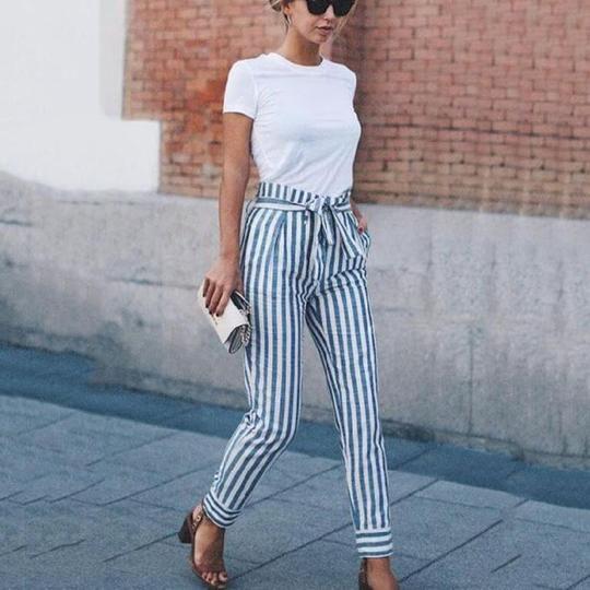 Striped Slim Strap Belt Long Skinny Casual Pants | Summer work .
