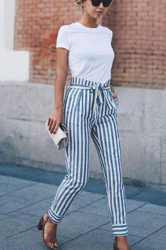 Striped Slim Strap Belt Long Skinny Casual Pants (With images .