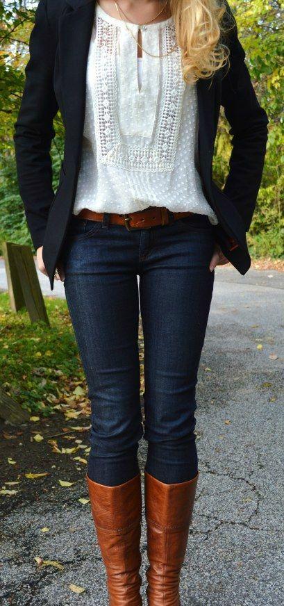 tan boots, belt, top, blazer, jeans | Fashion, Winter fashion .