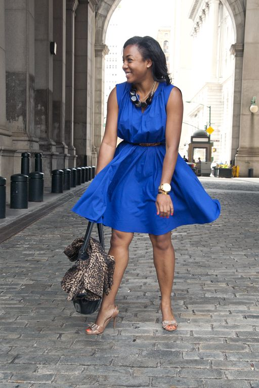 Marilyn Moments ~ Cobalt Flare Dress & Leopard Jacket | Dresses .