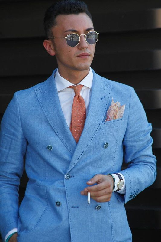 Light Blue Double Breasted Blazer | Double breasted, Mens fashion .