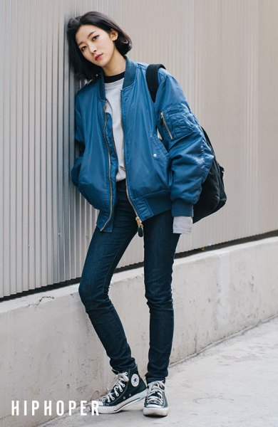 How to Wear Blue Bomber Jacket: 15 Boyish & Chic Outfit Ideas for .