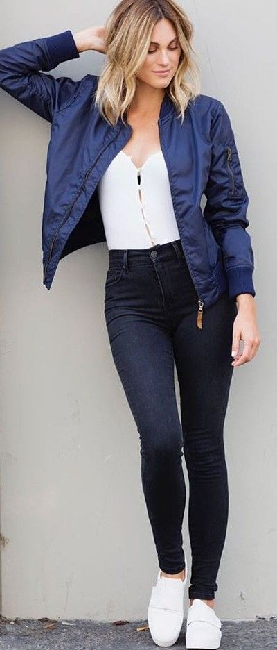 fall #trending #outfits | Navy Bomber Jacket + Black and White .