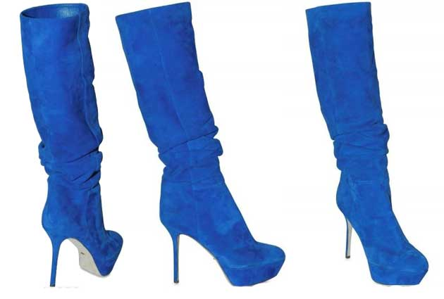 Blue Boots for Women: Sergio Rossi 120MM blue suede knee boots .
