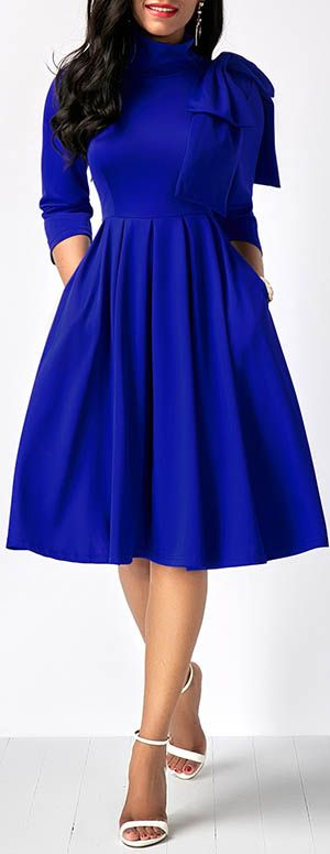 dress, royal blue dress, midi dress, long sleeve dress, party .