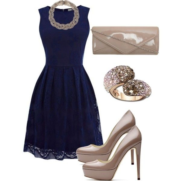 Navy blue cocktail lace dress … | Blue dress outfits, Fashion .
