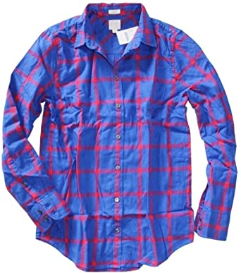 J. Crew Factory - Women's Boy Fit - Plaid Patterned Flannel Shirt .
