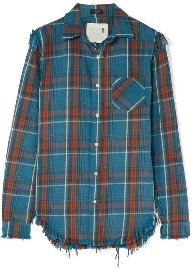 R13 - Boy distressed checked cotton-flannel shirt | Blue flannel .