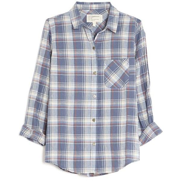 Current/Elliott Slim Boy Plaid Shirt ($198) ❤ liked on Polyvore .