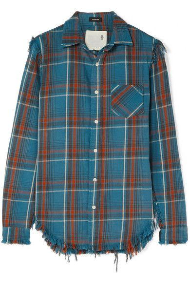 R13 - Boy distressed checked cotton-flannel shirt | Flannel shirt .