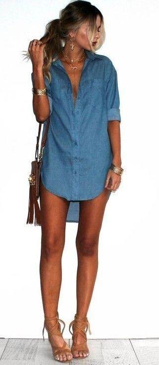 summer #girly #outfitideas | Denim Shirt Dress | Denim shirt dress .