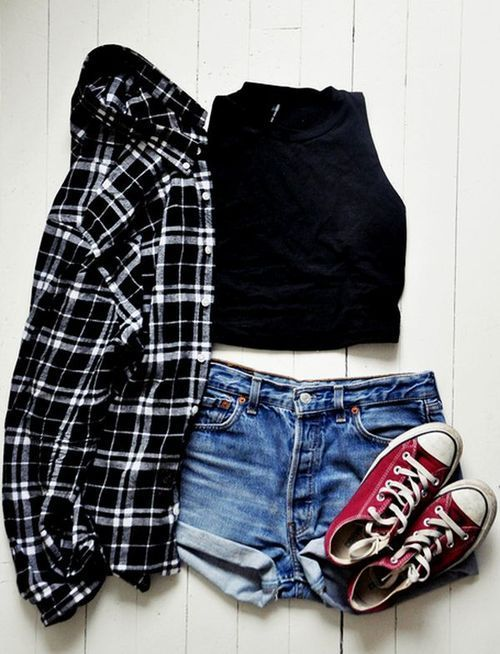 summer casual outfit - denim shorts, converse, crop top, & plaid .