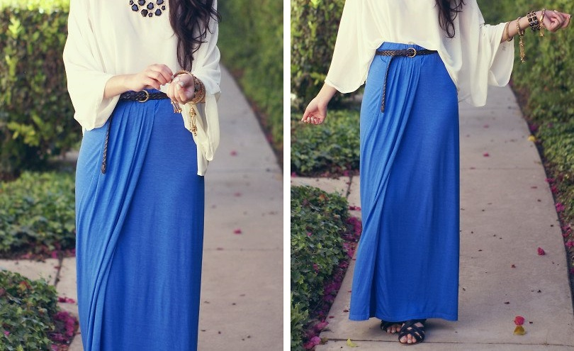 Blue Maxi Skirts Outfit Ideas | My Hijab on We Heart