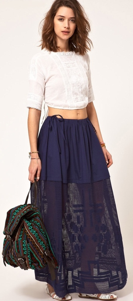Trendy Casual Maxi Skirt Outfit Ideas for Gir