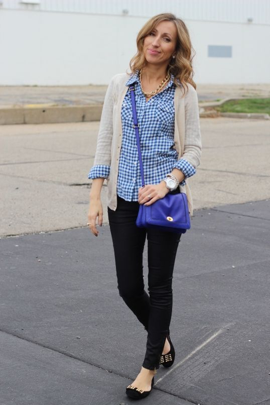 casual wear | black skinnies, blue & white checkered shirt, cardi .